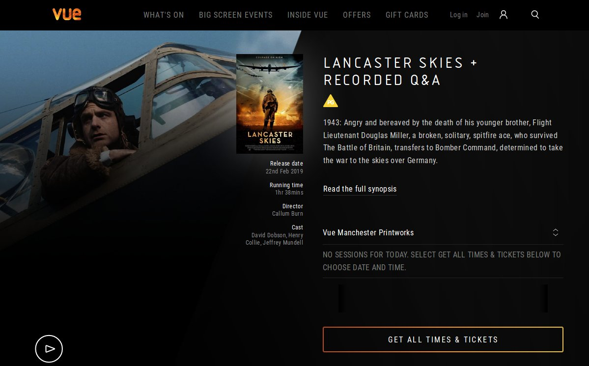 Screenshot - Lancaster Skies in VUE cinemas